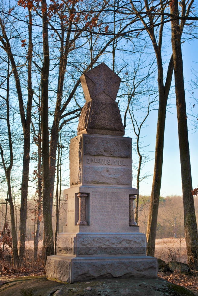 Monument to the 3rd Wisconsin Infantry. Gettysburg December 2011