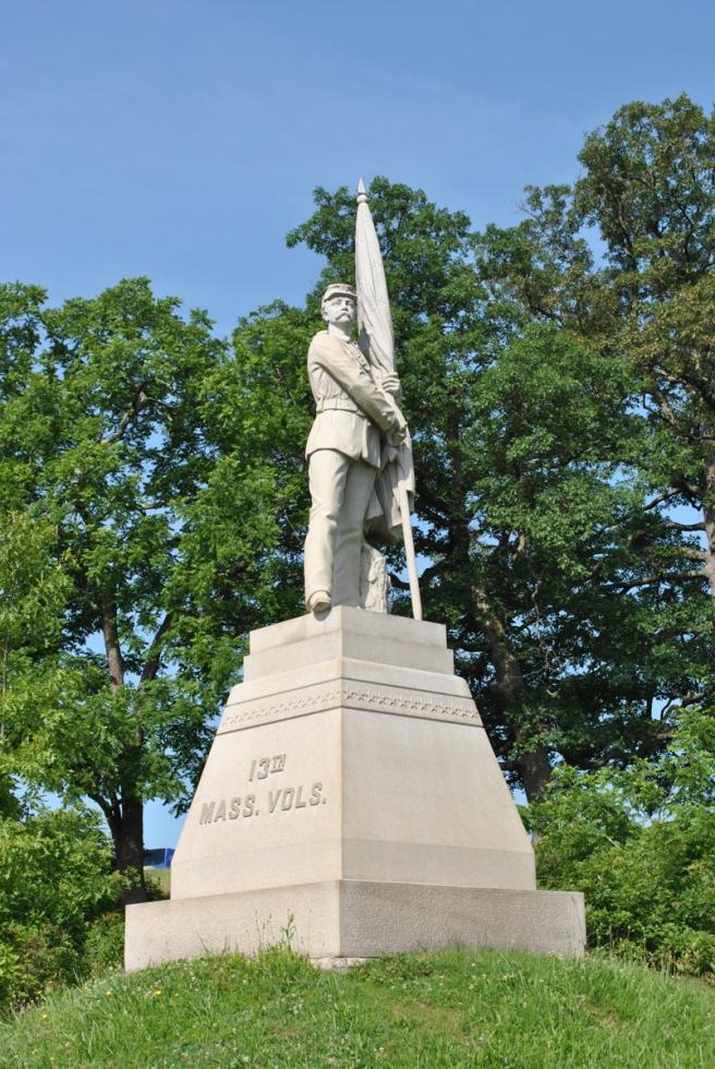 Monument to the 13th Massachusetts Infantry. Gettysburg June 2012